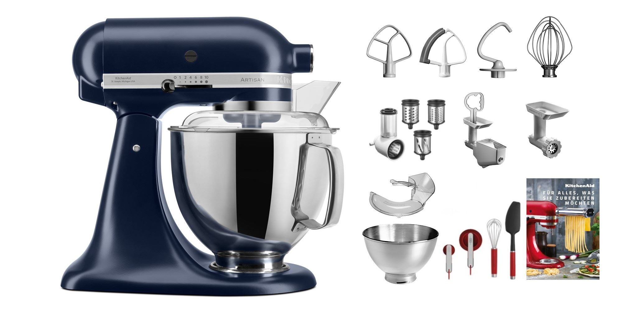 KitchenAid Jubi-Set KSM200 Swiss Edition tintenblau